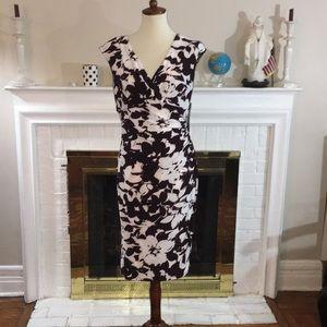 🌹Lauren Ralph Lauren Floral brawn White  dress
